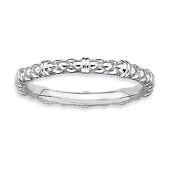 Sterling Zilver gepolijst gedessineerde Rhodium-plated stapelbare expressies Rhodium kabel Ring - Ringmaat: 5 tot 10