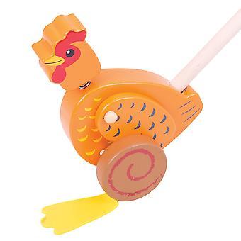 Bigjigs leksaker trä kyckling driva längs Walker promenader leksak rörlighet lära