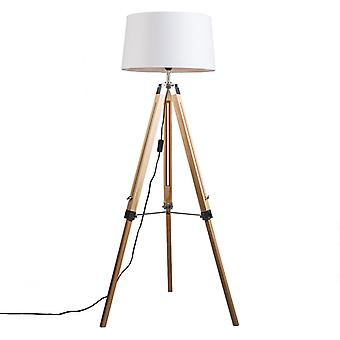 QAZQA Floor Lamp Tripod Natural with Shade 45cm Linen White
