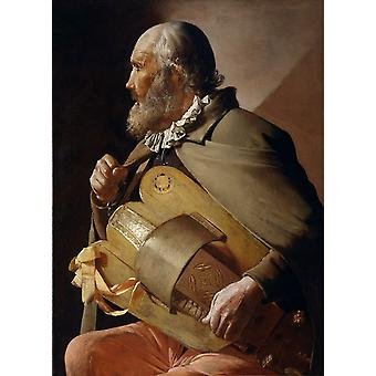 Blindman jouant de la vielle à roue, Georges de La Tour, 50x40cm