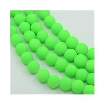 Strand 200+ Green Neon Glass 4mm Plain Round Beads Y04415