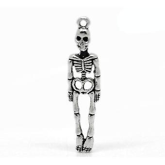 Packet 10 x Antique Silver Tibetan 39mm Skeleton Charm/Pendant ZX06085