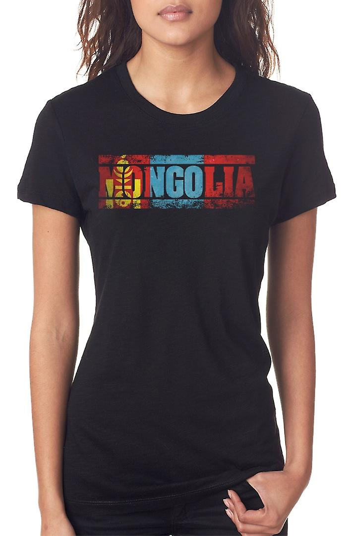 Mongolia Flag - Words Ladies T Shirt