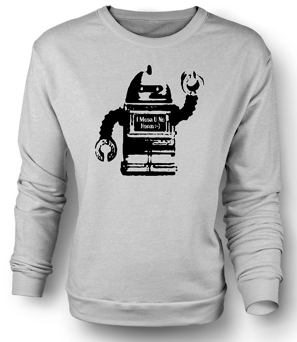Mens Sweatshirt Future Robot I Mean No Harm - Graphic Design