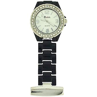 Boxx Ladies Black Enamel Stone Set Bezel Nurses/Beauticians Fob Watch BOXX123
