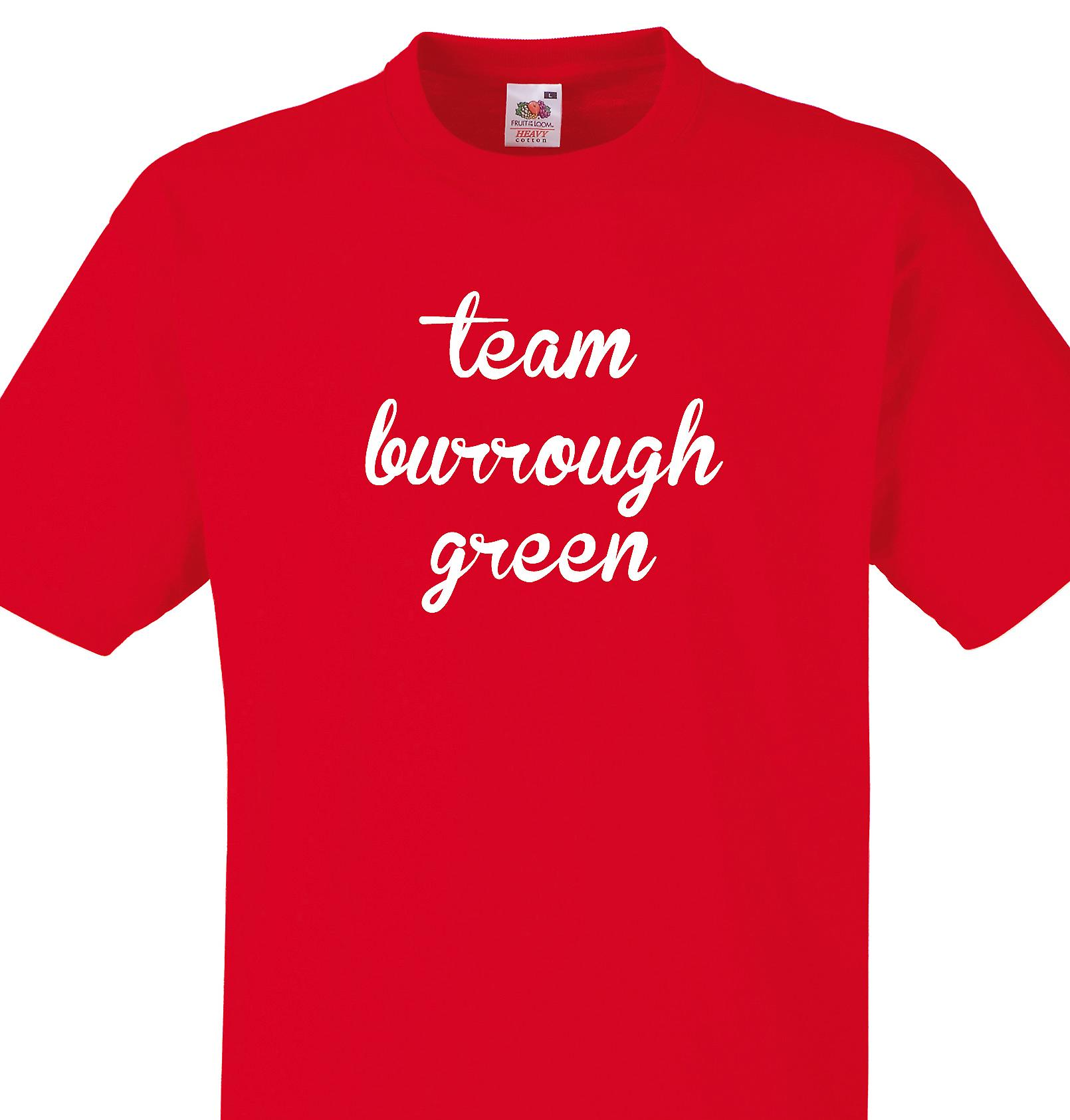 Team Burrough green Red T shirt
