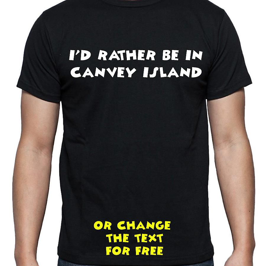 I'd Rather Be In Canvey island Black Hand Printed T shirt