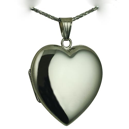 9ct White Gold 30x28mm plain heart shaped Locket with a spiga Chain 16 inches Only Suitable for Children