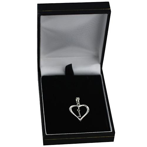sterling Silver heart with a hanging Initial L