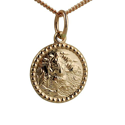 9ct Rose Gold 13mm round St Christopher Pendant with a curb Chain 16 inches Only Suitable for Children