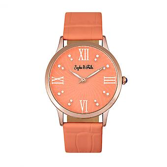 Sophie & Freda Sonoma Leather-Band Watch w/Swarovski Crystals - Rose Gold/Coral