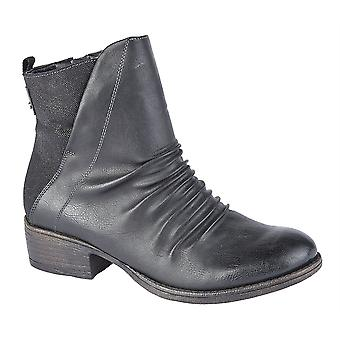 Ladies Womens Low Block Heel Inside Zip Ruched Ankle Boots Shoes