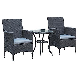 Outsunny 3 Pieces Wicker Steel Patio Set Rattan Furniture Garden Chair Bistro Grey