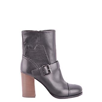 Car Shoe Black Leather Ankle Boots