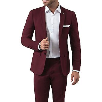 Avail London Mens Burgundy Suit Jacket Slim Fit Notch Lapel