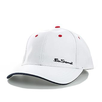 Mens Ben Sherman Ash 6 Panel Cap In White- Button To Top- Pre-Curved Visor-