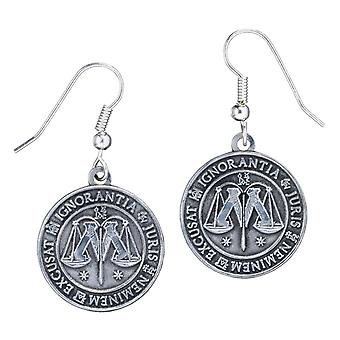 Harry Potter Silver Plated Ministry of Magic Drop Earrings
