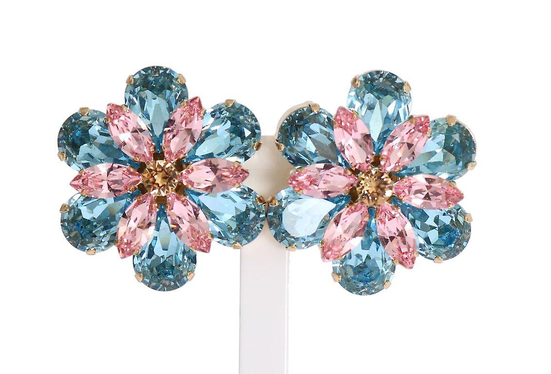 Or brass floral crystal grand clip on boucles d'oreilles