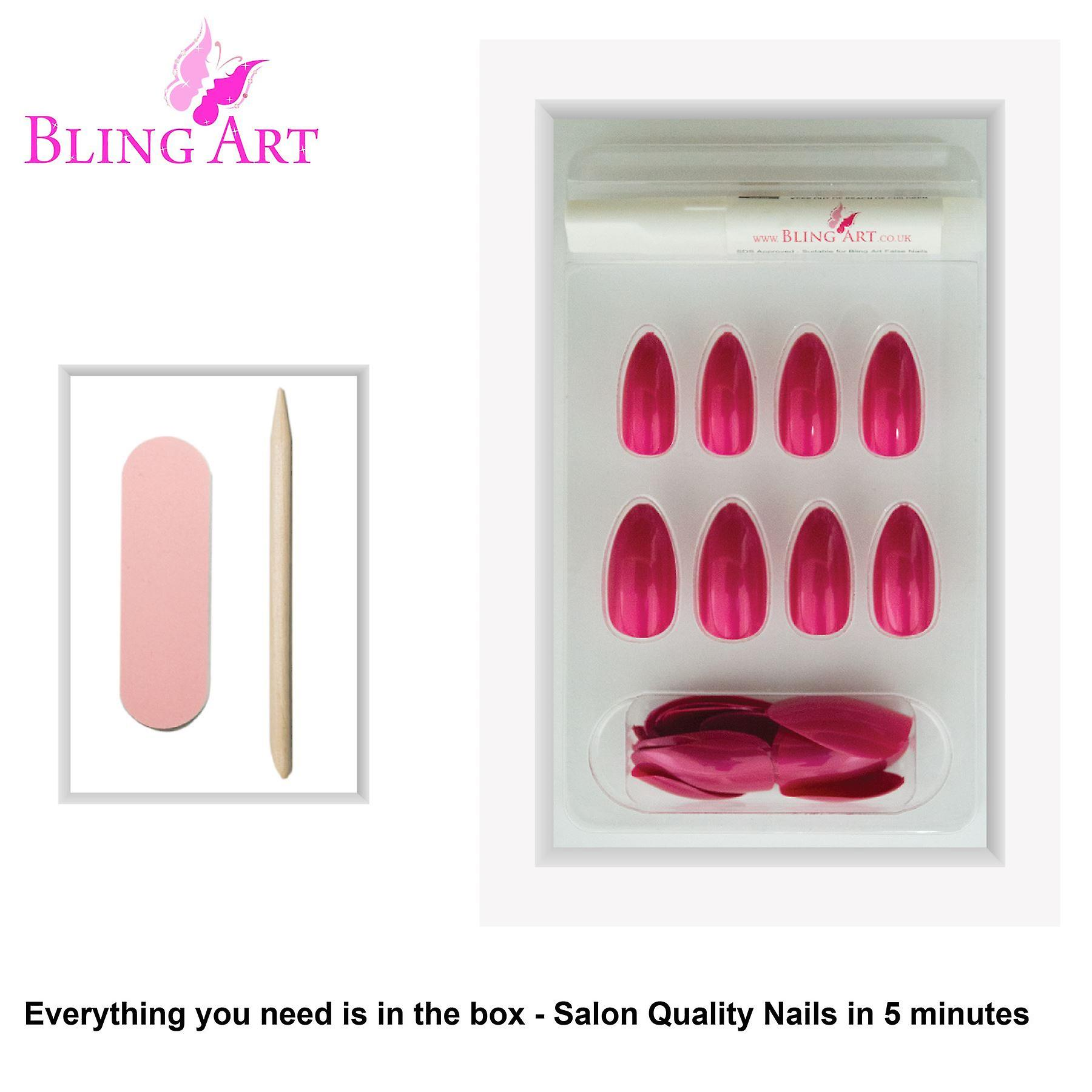 False nails by bling art red pearlised almond stiletto 24 fake long acrylic tips
