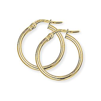 Jewelco London Ladies 9ct Giallo Oro 2mm Gauge Plain Polish Hoop Orecchini 18mm