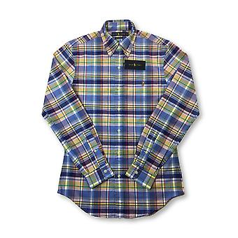 Ralph Lauren stretch oxford slim fit shirt in blue/yellow check