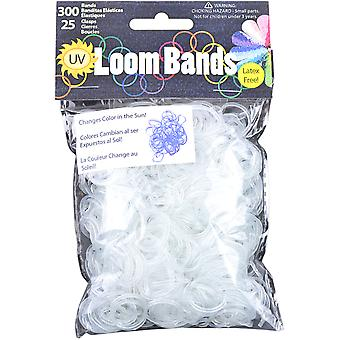 Uv Changing Loom Bands with Clasps 300 Bands & 25 Clasps Pkg Blue Lb50 50697