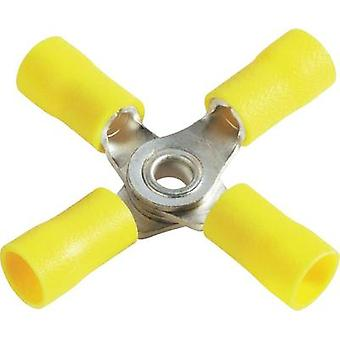 M4 Insulated 4-way Disconnect, Yellow, AWG, 4.0 - 6.0mm², Vogt Verbindungstechnik 3655a4