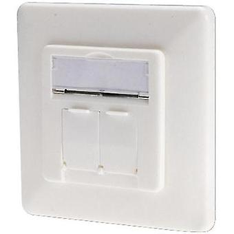 Network outlet Flush mount Insert with main panel and frame CAT 6 2 ports Digitus Professional Netzwerkdose Pure white