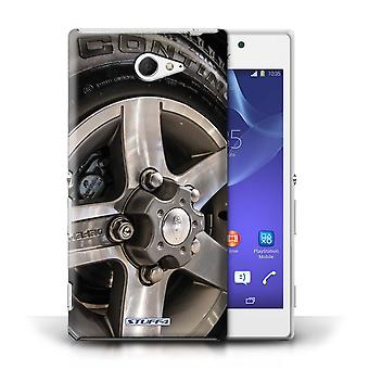 STUFF4 Case/Cover for Sony Xperia M2/Grey/Silver/Alloy Wheels