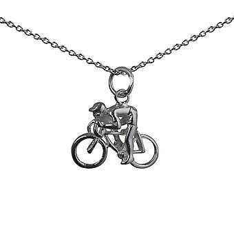 Silver 14x18mm Bicycle and Cyclist Pendant with a rolo Chain 24 inches