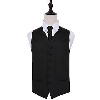 Plain Black Satin Wedding Waistcoat & Cravat Set