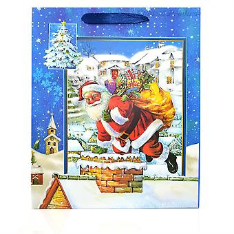 1 x Small Blue Luxury Christmas Gift Bag -3D Decorative Glitter Paper Bag for Party Gifts