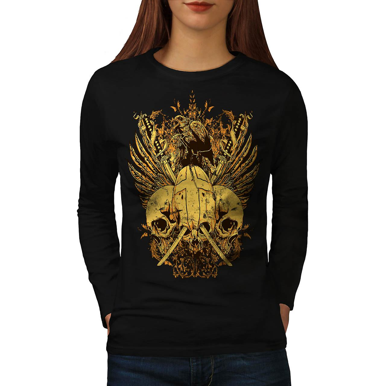 Skull Sword Fight Axe Death Bird Women Black Long Sleeve T-shirt | Wellcoda