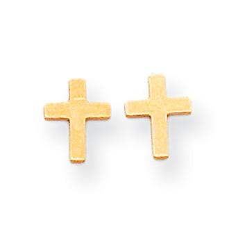 14k Yellow Gold Polished Cross Post Earrings - .3 Grams - Measures 7x6mm