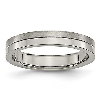 Titanium Engravable 4mm Brushed and Polished Band Ring - Ring Size: 6 to 12