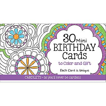 Coloring Cafe Mini Birthday Coloring Cards 30/Pkg-  CQ2601