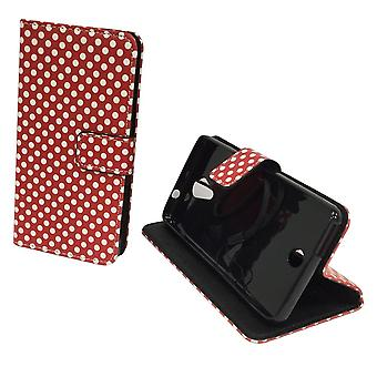 Mobile phone case pouch for mobile WIKO Tommy polka dot Red