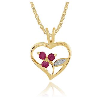 Gemondo Gold Plated Sterling Silver 0.18ct Ruby Floral Heart Pendant on Chain