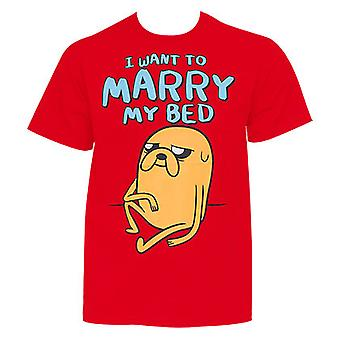 Men's Cotton Adventure Time Marry My Bed Red T-Shirt