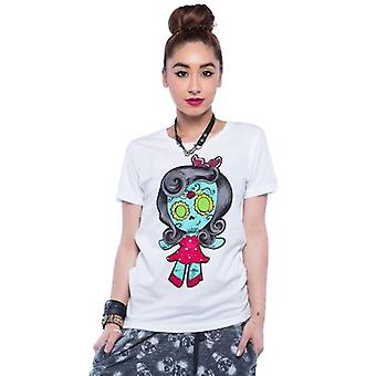 Iron Fist Womens White Tshirt Rosie Day Of The Dead Cute Cartoon Doll