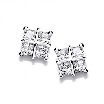 Cavendish French Silver and Cubic Zirconia Square Cross Earrings