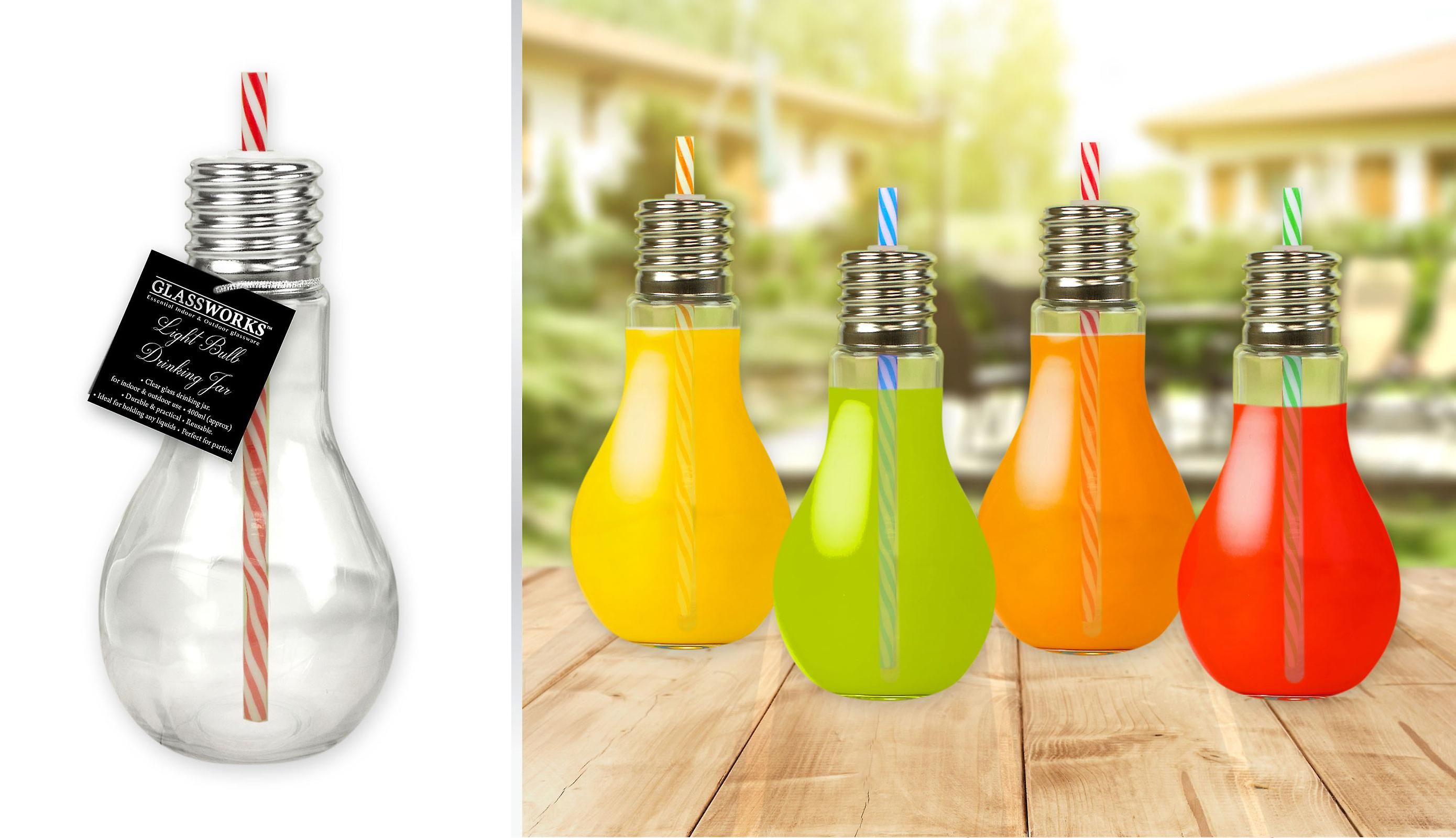 Light Bulb Drinking Glass Trendy Retro Bar Home Party Set of 4 Colours