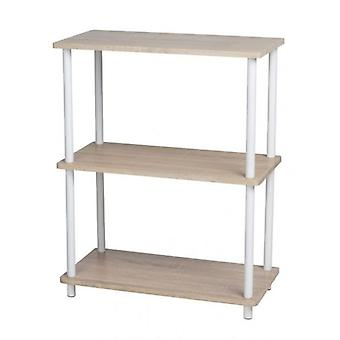 3 Tier Wooden MDF Shelves Rack Cupboard Storage Brown Home Kitchen Office