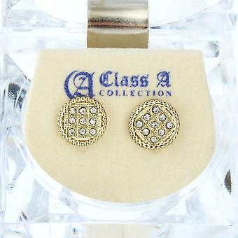 Iced out bling earrings box - ROUND 10 mm gold