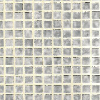 Fine Decor Ceramica Mosaic Tile Silver Luxury Vinyl Kitchen Bathroom Wallpaper