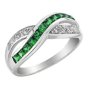 Created Emerald Infinity Ring with Diamonds 1/2 Carat (ctw) in 10K White Gold