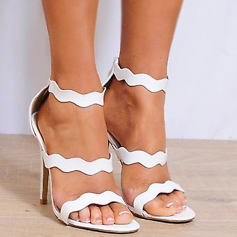 Shoe Closet White Strappy Heels - Ladies Bree-1 White Strappy Sandals