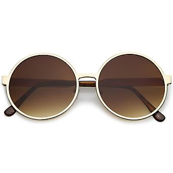 Oversize Round Metal Frame Sunglasses With Neutral Colored Flat Lens 58mm