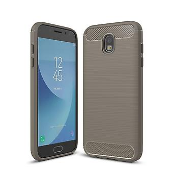 Samsung Galaxy J7 2017 TPU case carbon fiber optics brushed protection cover grey