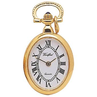 Woodford Gold Plated Oval Quartz Pendant Watch - Gold